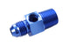 "Blue -8 AN Flare to 3/8"" NPT Hose Adapter Fitting w/1/8"" Gauge Port"