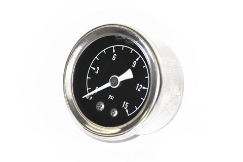 "0-15 PSI Liquid Filled Fuel Air Oil Pressure Gauge 1-1/2"" 1/8""NPT Chrome / Black"