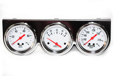"Chrome White Face 2-5/8"" Triple Gauge Set"