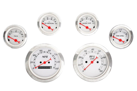 Chrome White Face Classic Gauge Set Electric Speedometer