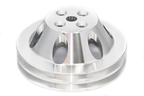 BBC Polished Billet Aluminum Water Pump Pulley Double 2 Groove Short