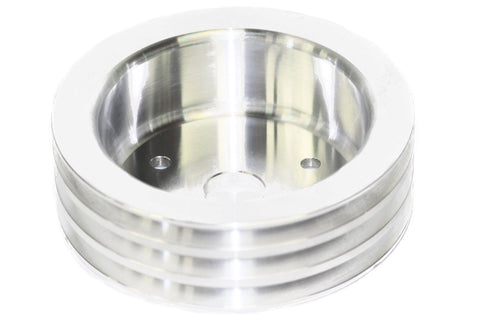 SBC Polished Billet Aluminum Crank Pulley Three 3 Groove Short Water Pump