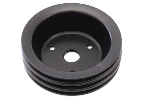 SBC Black Crank Pulley Triple 3 Groove For Short Water Pump