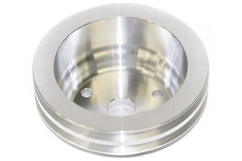 SBC Polished Billet Aluminum Crank Pulley Double 2 Groove For Long Water Pump