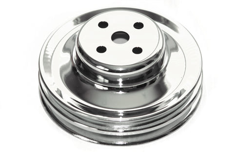 SBF 1964-1973 Chrome Steel Water Pump Pulley Double 2 Groove