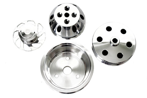 SBC Polished Billet Aluminum Serpentine Pulley Kit Long Water Pump LWP w/ P/S