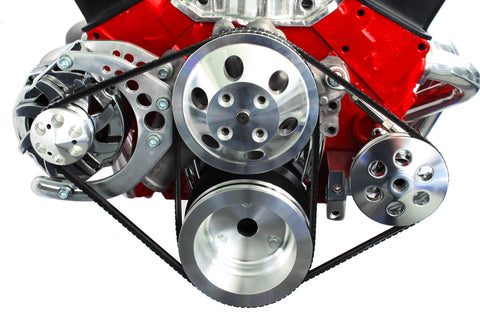SBC Chevy Polished Aluminum Front Drive Pulley Kit w/ Alternator P/S Pump LWP