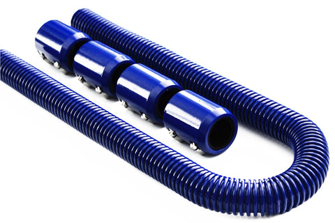 "48"" Blue Stainless Steel Flex Radiator Hose Kit w/ End Caps"