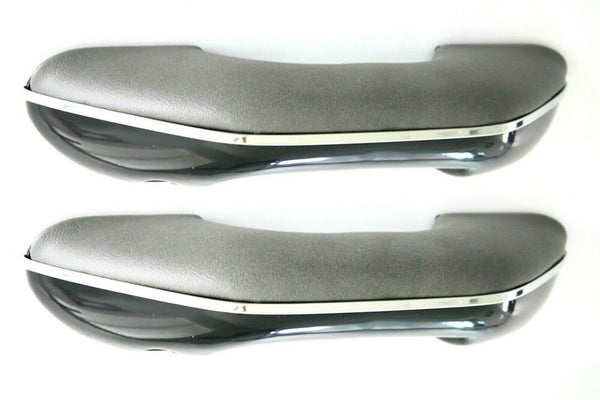 55-66 Chevy/GMC Pickup Truck LH/RH Gray Arm Rests Pull Handle Chrome Trim