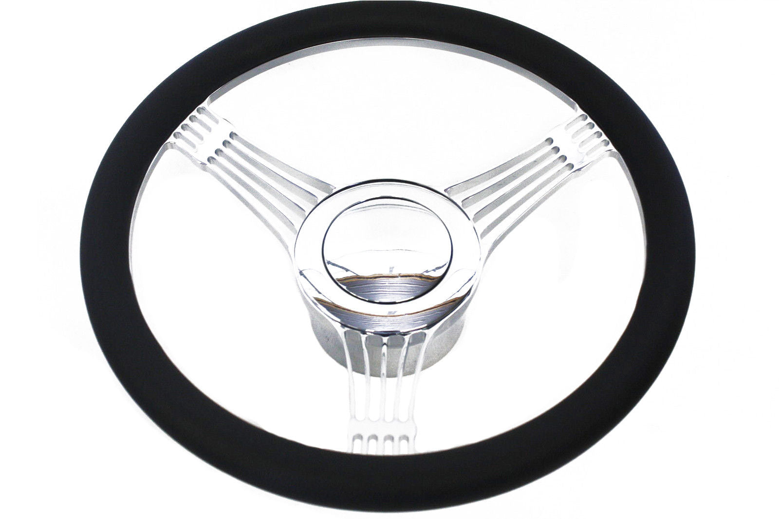 14 Billet Chrome Banjo Style Steering Wheel With Half Wrap Black Leather/&Horm Button