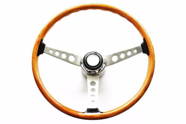 "16"" Stainless w/ Wood Grain Steering Wheel Kit w/ Horn Button & GM Adapter"