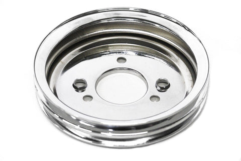 BBC Chrome Steel Crank Pulley Double 2 Groove Short Water Pump