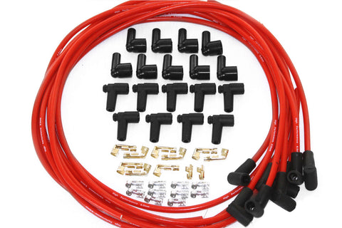 Universal 8.5MM 90 Degree Red Spark Plug Wires w/ Male & Female Ends