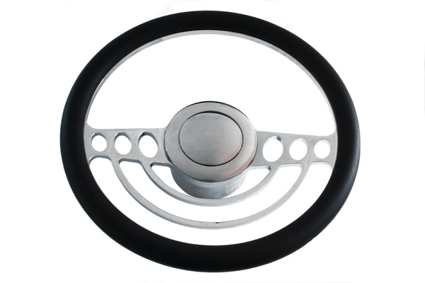"Chrome Classic Billet Aluminum 14"" Half Wrap Steering Wheel Kit 67-94 GM Columns"