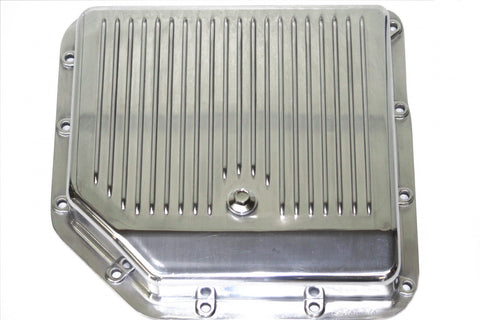 Finned Polished Aluminum Transmission Pan Stock Depth TH350 w/ Gasket