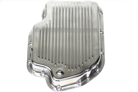 Finned Polished Aluminum Chevy 400 Transmission Pan w/ Gasket Stock Depth