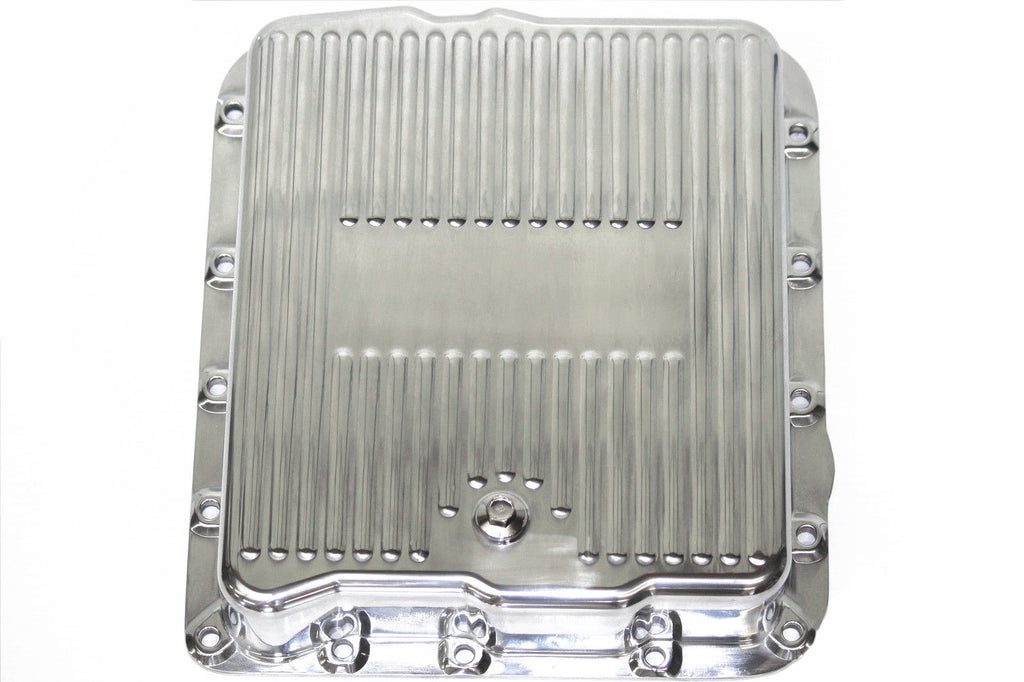 Finned Polished Aluminum Chevy 700r4 & 4L60E Transmission Pan Stock Depth