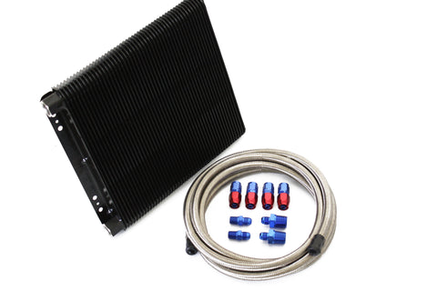 "B&M 11""x 11"" SuperCooler Transmission Oil Cooler w/Braided Line AN Fittings Kit"