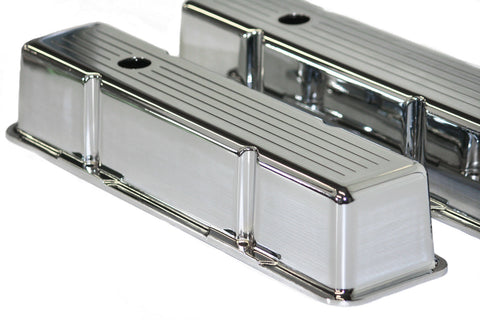 58-86 SBC Chrome Aluminum Ball Milled Tall Valve Covers