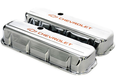 65-95 BBC Chrome Steel Tall Valve Covers w/ Orange Chevrolet Logo