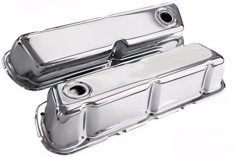 SBF Chrome Steel Baffled Tall Valve Covers 62-up