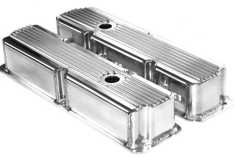 BBF FE Polished Aluminum Fabricated Finned Tall Valve Covers