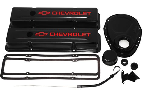 SBC Black Engine Dress-Up Kit w/ Red Chevrolet Valve Covers, Breather