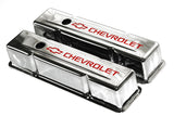 SBC Chrome Steel Tall Valve Covers w/ Red Chevrolet Logo