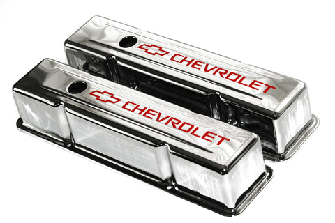 58-86 SBC Chrome Steel Tall Valve Covers w/ Red Chevrolet Logo