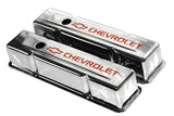 58-86 SBC Chrome Steel Tall Valve Covers w/ Orange Chevrolet Logo
