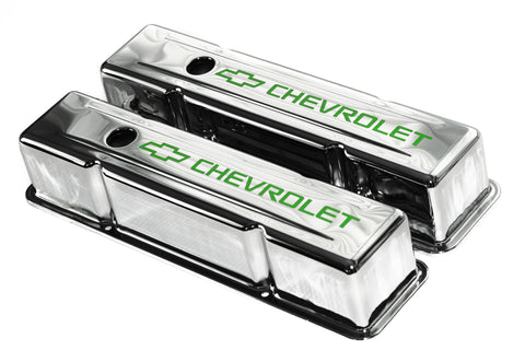SBC Chrome Steel Tall Valve Covers w/ Lime Green Chevrolet Logo 58-86 Chevy