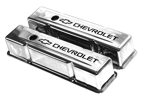 SBC Chrome Steel Tall Valve Covers w/ Black Chevrolet Logo 58-86 Chevy