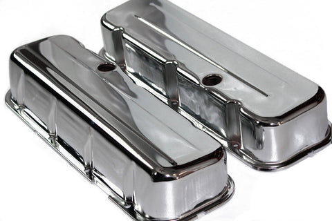 BBC Chrome Steel Baffled Tall Valve Covers 65-95 Chevy 396 427 454 502