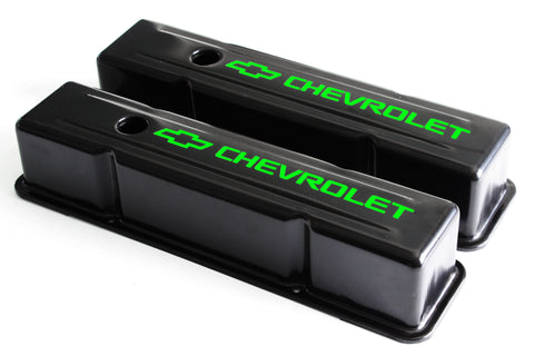 58-86 SBC Black Steel Tall Valve Covers w/ Green Chevrolet Logo