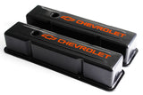 58-86 SBC Black Steel Tall Valve Covers w/ Orange Chevrolet Logo