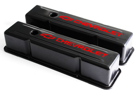58-86 SBC Black Steel Tall Valve Covers w/ Red Chevrolet Logo