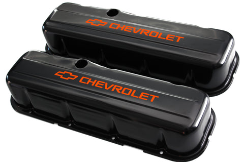 65-95 BBC Black Steel Tall Valve Covers w/ Orange Chevrolet Logo