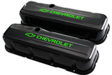 65-95 BBC Black Steel Tall Valve Covers w/ Green Chevrolet Logo