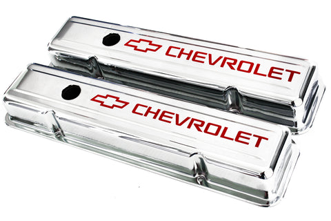 55-57 SBC Chrome Short Valve Covers Staggered Bolt Holes w/ Red Chevrolet Logo