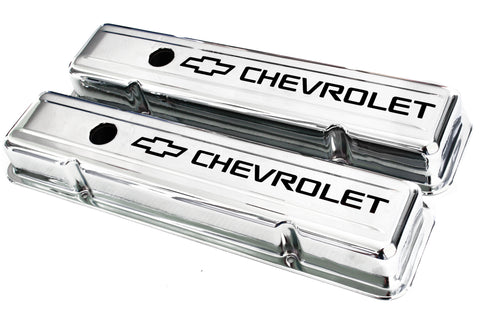 55-57 SBC Chrome Short Valve Covers Staggered Bolt Holes w/ Black Chevrolet Logo