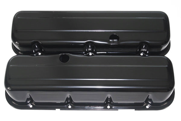 BBC Black Powdercoated Steel Baffled Tall Valve Covers 65-95