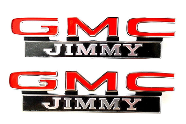 71-72 GMC C/K K/5 Jimmy LH & RH Fender Emblems Pair w/Fasteners