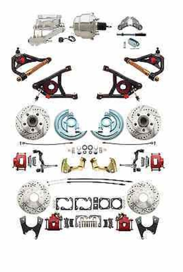 "A F X Body GM Red 2"" Drop D/S Disc Brake Kit w/ Control Arms & Chrome Booster"