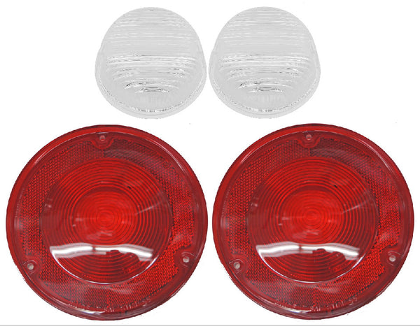 (2) 67-72 Chevy/GMC Truck Stepside Rear Red Tail Light & Reverse Back-Up  Lenses
