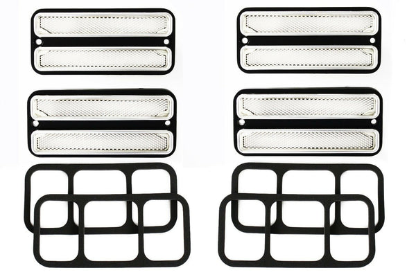 (4) 68-72 Chevy GMC Truck Clear Front & Rear Side Marker Light Lamps Set