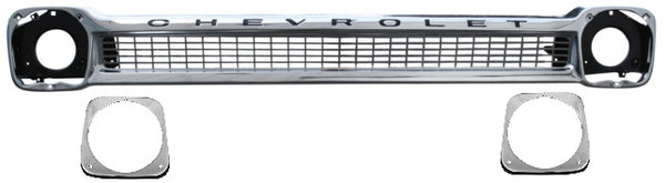 64-66 Chevy Truck Chrome Grille Shell with Chevrolet Lettering & Head Light Bezels