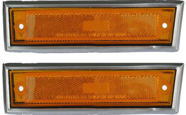 81-87 Chevy/GMC Truck Front LH & RH Side Amber Marker Lamp Lenses with Deluxe Trim