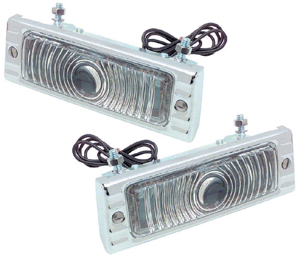 47-53 Chevy Truck Front LH & RH 12V Clear Turn Light Parking Assemblies with Chrome