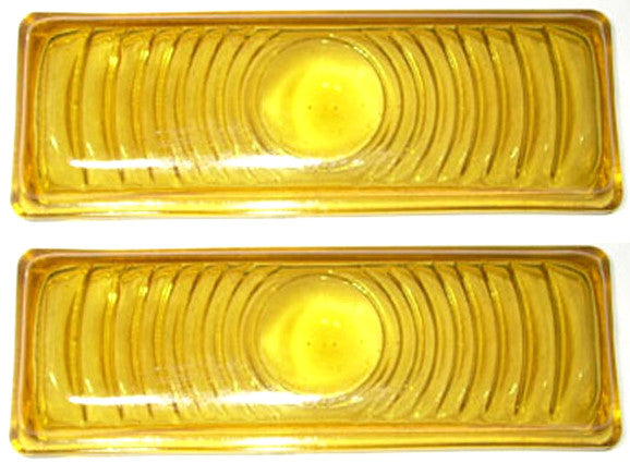 47-53 Chevy Truck Front LH & RH Yellow Turn Light Parking Lamp Lenses