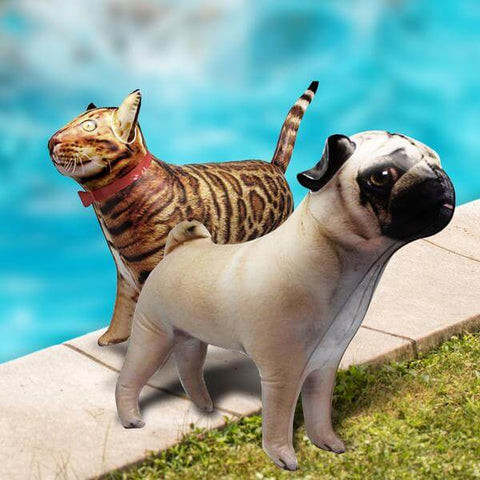 image of two inflatable pool toys in cat and pug designs beside a pool